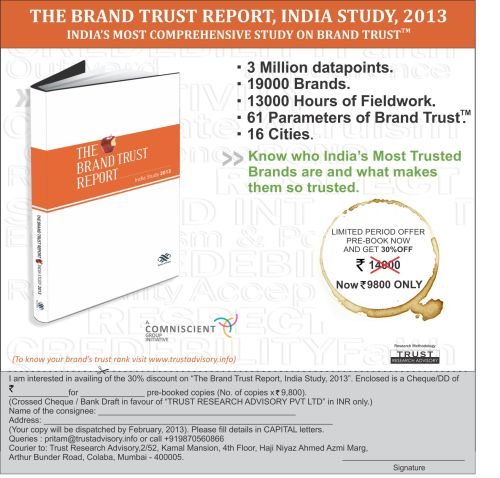 The Brand Trust Report, India Study - 2013