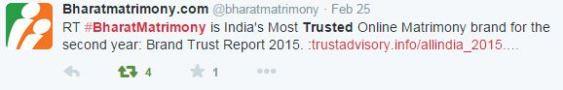 Bharat Matrimony tweet